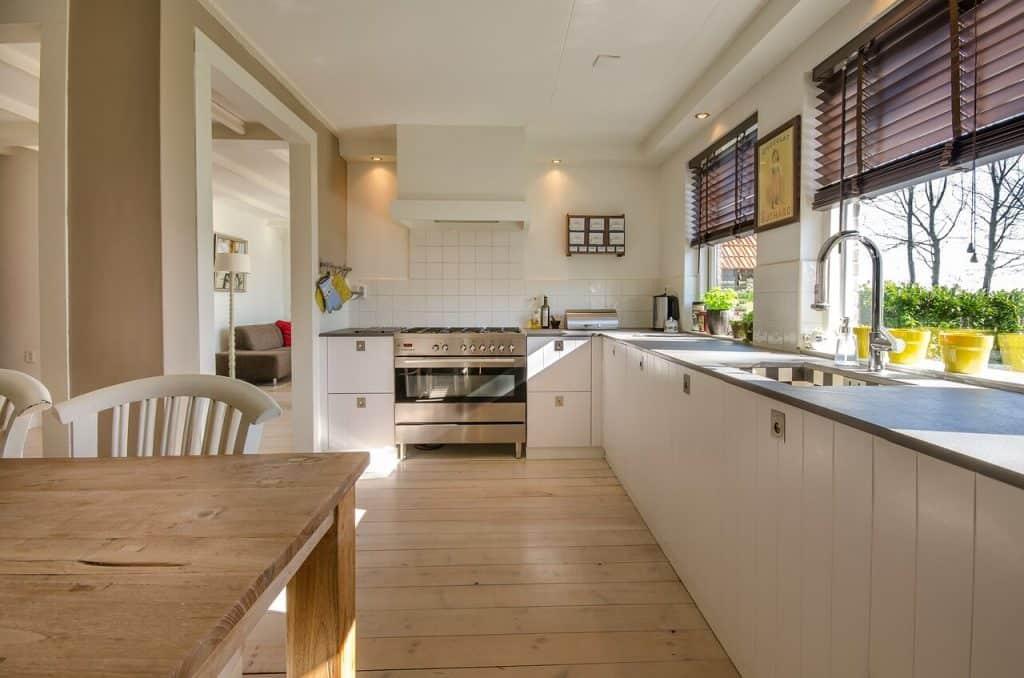 hardwood floor in the kitchen