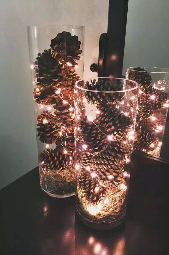 pine cones in a jar